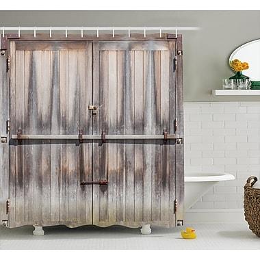 East Urban Home Retro Wooden Oak Country Gate Shower Curtain; 69'' W x 70'' L