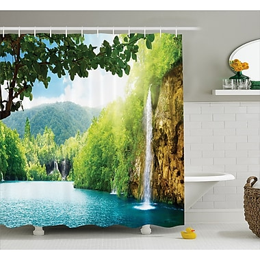 East Urban Home Landscape Crotian Lake Forest Shower Curtain; 69'' W x 75'' L