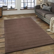 Corrigan Studio Rodney High-Quality Wool Ultra Soft Solid Textured Chocolate Area Rug