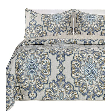 Darby Home Co Beauford 100pct Cotton 3 Piece Reversible Quilt Set; Queen
