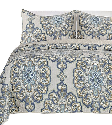 Darby Home Co Beauford 100pct Cotton 3 Piece Reversible Quilt Set; King