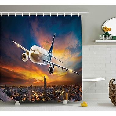East Urban Home Travel Night Scene w/ Plane Shower Curtain; 69'' W x 75'' L