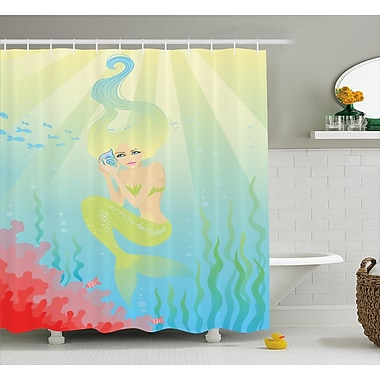 East Urban Home Ocean Unusual Mermaid Shell Shower Curtain; 69'' W x 70'' L