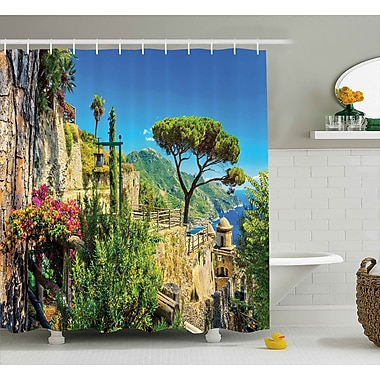 East Urban Home Scenery Village Trees Blossoms Shower Curtain; 69'' W x 70'' L