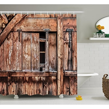 East Urban Home Rustic Oak Abandoned Barn Door Shower Curtain; 69'' W x 84'' L