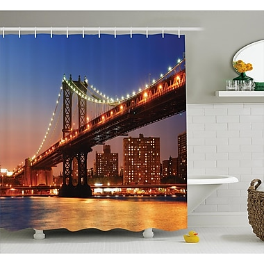 East Urban Home View Manhattan Bridge at Night Shower Curtain; 69'' W x 70'' L