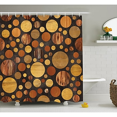 East Urban Home Wooden Brown Abstract Circles Shower Curtain; 69'' W x 75'' L