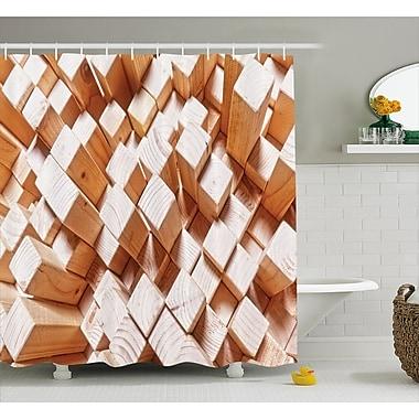 East Urban Home Geometric Natural Wood Rustic Shower Curtain; 69'' W x 75'' L