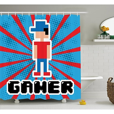 East Urban Home Video Games Red Blue Stripes Shower Curtain; 69'' W x 75'' L