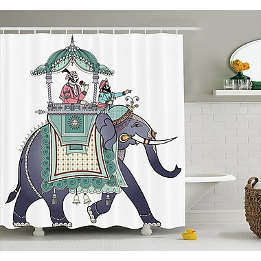East Urban Home Indian Elephant w/ Prince Shower Curtain; 69'' W x 70'' L