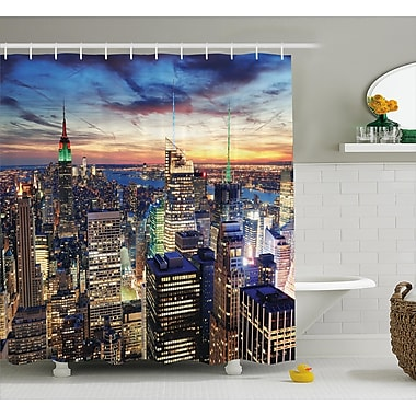 East Urban Home Landscape Urban Skyline of NYC Shower Curtain; 69'' W x 70'' L