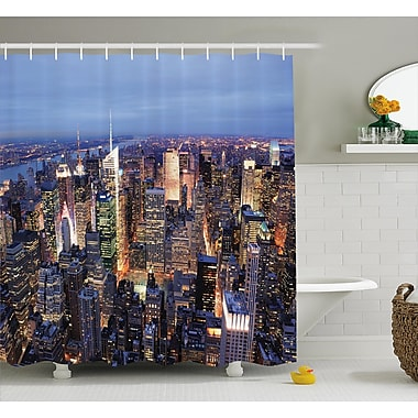 East Urban Home Landscape Aerial View of NYC Shower Curtain; 69'' W x 75'' L