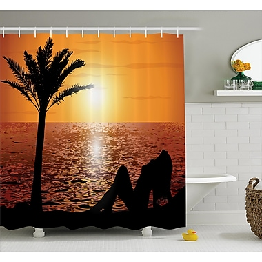 East Urban Home Beach Sexy Girl w/ Sunset Shower Curtain; 69'' W x 84'' L