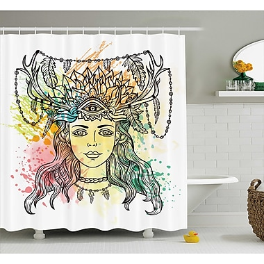 East Urban Home Fabric Female Shaman Feathers Shower Curtain; 69'' W x 84'' L