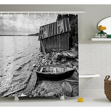 East Urban Home Black and White Fishing Boat Shower Curtain; 69'' W x 75'' L