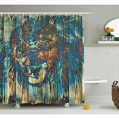 East Urban Home Safari Rustic Timber Wild Lion Shower Curtain; 69'' W x 70'' L