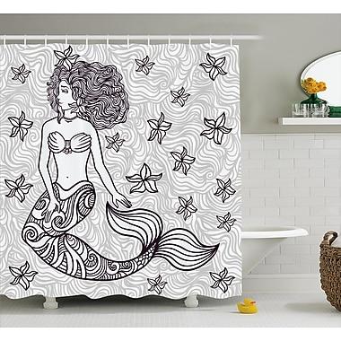 East Urban Home Ocean Magical Mermaid w/ Wave Shower Curtain; 69'' W x 70'' L