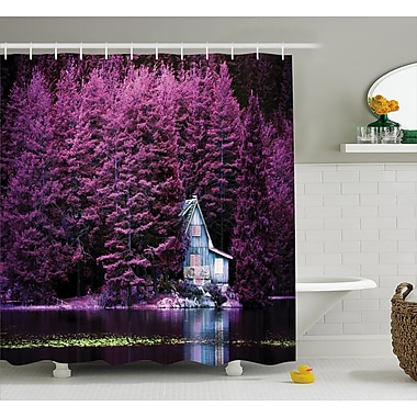 East Urban Home Lavender Purple Trees by Lake Shower Curtain; 69'' W x 70'' L