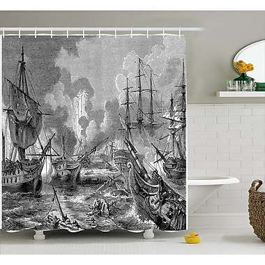 East Urban Home Gray Naval Battle Vintage War Shower Curtain; 69'' W x 70'' L
