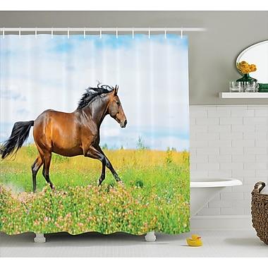 Ebern Designs Hamilton Horse Rural Flowers Shower Curtain; 69'' W x 75'' L