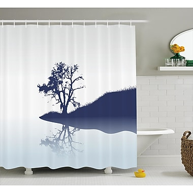 Ebern Designs Hanh Lonely Tree by Lake Shower Curtain; 69'' W x 84'' L