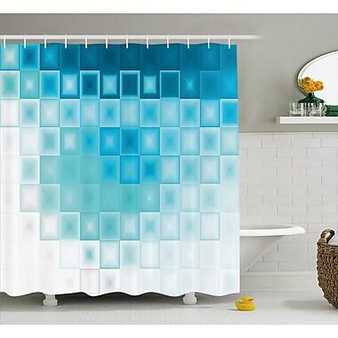 Ebern Designs Hettie Fractal Square Shapes Shower Curtain; 69'' W x 70'' L