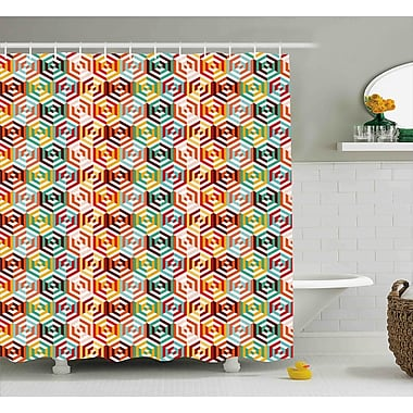 Ebern Designs Hiedi Hexagonal Shape Retro Print Shower Curtain; 69'' W x 75'' L