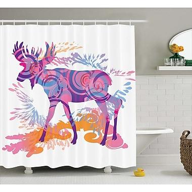 Ebern Designs Emmett Trippy Vivid Deer Shower Curtain; 69'' W x 70'' L