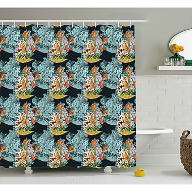 Ebern Designs Hudson Oriental Style Motifs Shower Curtain; 69'' W x 84'' L