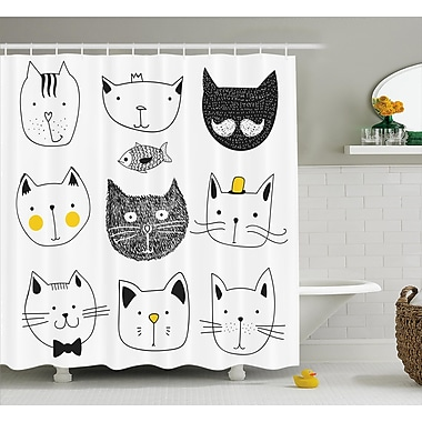 Ebern Designs Everly Stylish Cats w/ Fish Shower Curtain; 69'' W x 84'' L