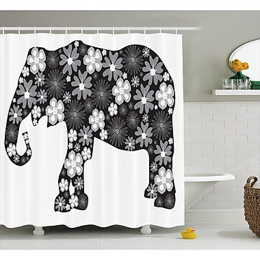 Ebern Designs Fressia Floral Elephant Pattern Shower Curtain; 69'' W x 84'' L