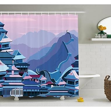 Ebern Designs Frida Futuristic China Efect Shower Curtain; 69'' W x 70'' L