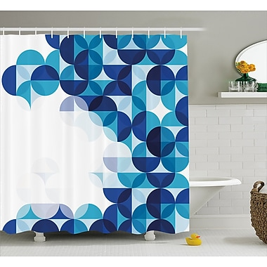Ebern Designs Grafton Modern White Circles Shower Curtain; 69'' W x 84'' L