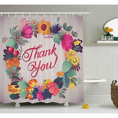 Ebern Designs Graves Thank You Decor Ceramic Shower Curtain; 69'' W x 75'' L