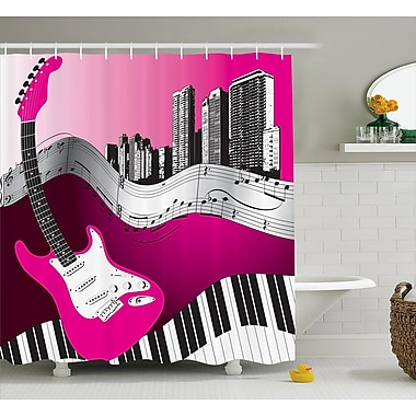 Ebern Designs Guillame Urban Bass Guitar Rock Shower Curtain; 69'' W x 70'' L