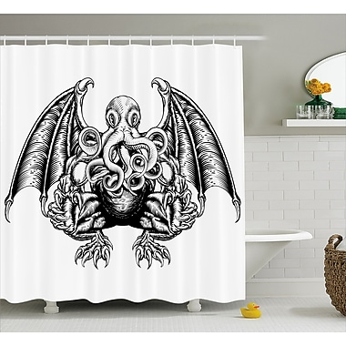 East Urban Home Space Cosmic Evil Monster Shower Curtain; 69'' W x 70'' L