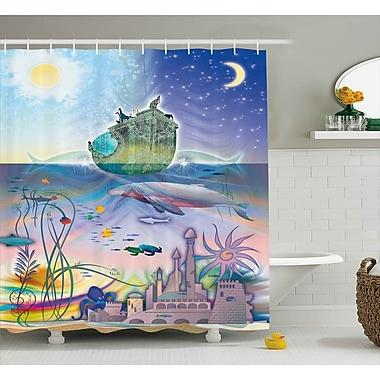 East Urban Home Ocean Pirate Ship Coral Reefs Shower Curtain; 69'' W x 70'' L