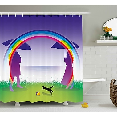 East Urban Home Romantic Couple under Rainbow Shower Curtain; 69'' W x 75'' L