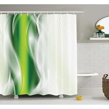 Ebern Designs Aaron Cool Wavy Floral Shower Curtain; 69'' W x 84'' L