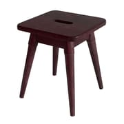 Ebern Designs Ardell Solid Wood Square Accent Stool; Merlot