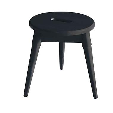 Ebern Designs Ardell Solid Wood Round Tripod Accent Stool; Graphite