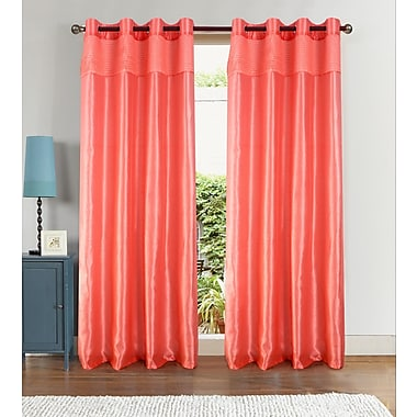 Ebern Designs Auburn Solid Semi-Sheer Single Curtain Panel; Coral