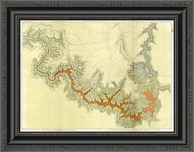 'Grand Canyon - Composite: Geologic Map; S. Pt. Kaibab Plateau. I-IV; 1882' Framed Print