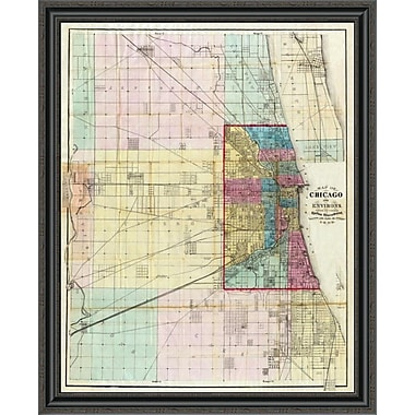 East Urban Home 'Map of Chicago and Environs; 1869' Framed Print; 18'' H x 33'' W x 1.5'' D