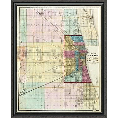East Urban Home 'Map of Chicago and Environs; 1869' Framed Print; 21'' H x 36'' W x 1.5'' D