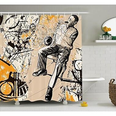 Ebern Designs Howe Saxophone Music Rythim Print Shower Curtain; 69'' W x 75'' L