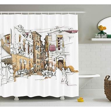 Ebern Designs Blondelle Sketchy Street Art View Shower Curtain; 69'' W x 75'' L