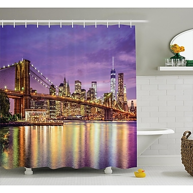 Ebern Designs Brunelle Broadway Scenery NYC Shower Curtain; 69'' W x 84'' L