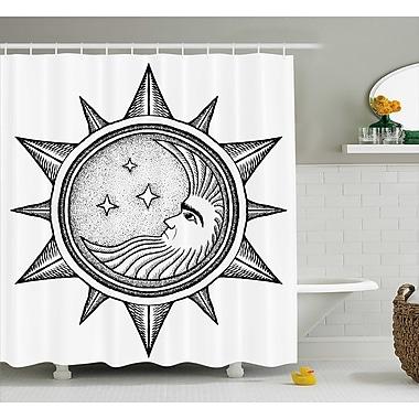 Ebern Designs Carel Moon w/ Stars in Sun Shower Curtain; 69'' W x 84'' L