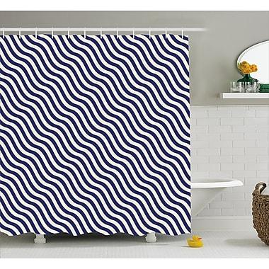 Ebern Designs Carvell Wavy Stripes Dark Blue Shower Curtain; 69'' W x 70'' L